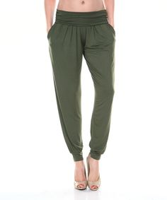 Look at this White Mark Dark Green Harem Pants on #zulily today!