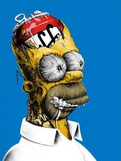 Homero Simpson. Arte por PEZ.