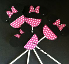 Minnie Mouse Pink Polka Dot Cup Cake Toppers by ATime2beeunique, $9.50