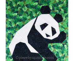 Panda block paper pieced quilt pattern INSTANT DOWNLOAD PDF