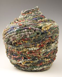 """A Woman of Substance by Jackie Abrams Recycled women's silk blouses, waxed linen thread; coiled Courtesy of The Textile Museum, """"Green: the Color and the Cause"""" exhibition Art Fibres Textiles, Textile Fiber Art, Textile Artists, Fabric Art, Fabric Crafts, Sculpture Textile, Soft Sculpture, Contemporary Baskets, Textile Museum"""