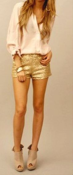 cute outfit {sparkly shorts + blouse}