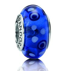 Pandora Blue Bubbles Murano Glass