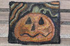 Primitive Halloween Folk Art Hooked Pumpkin Rug Early Style | eBay