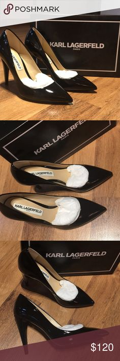 Karl Lagerfeld Paris Black Patent Heels Must have in every closet!!! Karl Lagerfeld Paris Shoes Heels