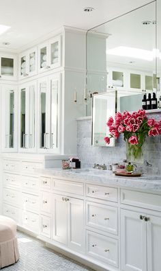 white cabinets + grey marble