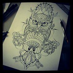 by Silvija - Super 7 Tattoo but just the owl, don't like all the embellishment Future Tattoos, Love Tattoos, Body Art Tattoos, Tattoos For Guys, Circle Tattoos, Fish Tattoos, Flash Art Tattoos, Buho Tattoo, 7 Tattoo