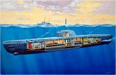 U-Boat type XXI en un corte esquematico. Estos se construian en el enorme complejo fabril en Bremen, densamente protegido contra todo. Danijel Frka. Más en www.elgrancapitan.org/foro