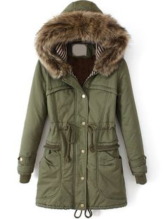 Roseate Women's Long Quilted Coat Green Casual Parkas with Faux Fur Hood ** Learn more by visiting the image link. Long Hooded Coat, Long Parka Coats, Hooded Coats, Hooded Parka, Green Parka Coat, Khaki Coat, Long Quilted Coat, Long Down Coat, Fur Collar Coat