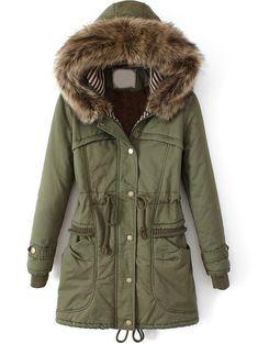 Army Green Faux Fur Hooded Drawstring Slim Coat US$60.00