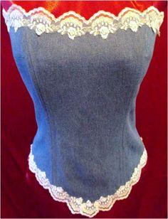 Sophie Denim and Lace Wedding Corset