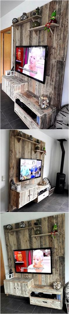 pallet tv stand and wall art
