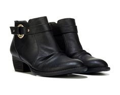 Hardware meets softwear. You'll love how the Janessa Ankle Bootie from Dr. Scholls has a little bit of everything you love, right down to the comfort.Relaxed finish upperWider forepart and built in stitching for a rugged lookHammered metal ring holds riveted straps apartMemory Foam Cool Fit™ insole1 and 1/4 inch leather wrapped stacked heel