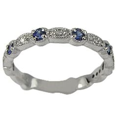 Image detail for -Antique Sapphire Diamond Wedding Band – 7 | Ovi Rings
