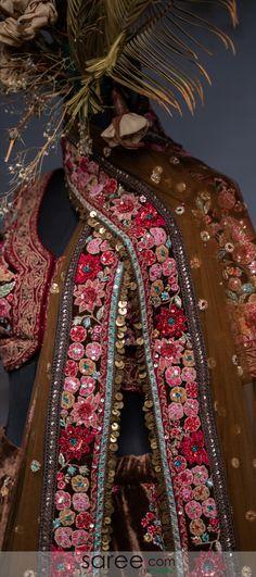 Brown Velvet Lehenga Choli with All Over Beads and Sequins Worked Floral Motifs Lehenga Choli Online, Bridal Lehenga Choli, Bridal Dresses, Girls Dresses, Floral Motif, Indian Wear, Sequins, Velvet, Embroidery