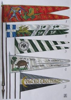 1363-1479 Drapeaux français. 1 Standard de Charles VII, roi de France. 2 Standard de Jean, duc de Bourbon. 3 Standard de Jean Le Mangrove Boucicaut, maréchal de France. 4 Standard de Arthur de Richemont, connétable de France. 5 Gidon René d'Anjou, duc de Lorraine, roi de Sicile