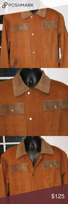 """Hired Hand Barn Ranch Coat Sz Lg XL Men's This is a Hired Hand brand authentic Barn/Ranch/Farm Coat.  Heavy Coat.  Leather collar, trim on pockets.  Men's size Large.  Coat has some wear but, extremely wearable and nice.  3M Thinsulate.  I tried this coat on.  I weigh 245lbs. at 6'.  The coat """"almost"""" fit me and I wear 2XL's.  So it is bigger coat that I believe would fit a XL just fine.  Coat made by Kix Associates. Hired Hand Jackets & Coats Military & Field"""