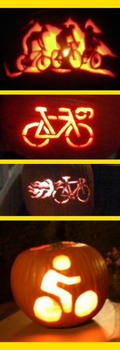 Bicycle-themed pumpkin carving pattern ideas for cyclists! carving ideas bicycle Bike pumpkin carving patterns + How to carve a pumpkin :: halloween for cyclists, triathletes, runners