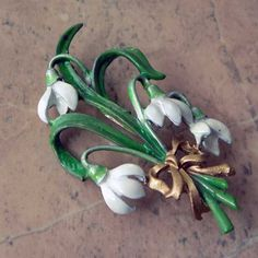 Large snowdrop flower brooch by Exquisite jewellery part of the vintage birthday range The snowdrop is for the month of January Refurbished enameling