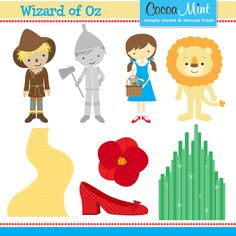Wizard of Oz clip art for invitations, name cards and cupcake toppers
