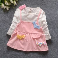 Muchachas que arropan los vestidos de moda otoño niños casual patchworking arcos chaleco falso manga larga que basa mini vestido