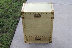 Vintage BRASS Nailhead Trunk Chest End Table Gold by feelinvintage