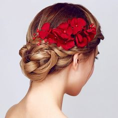 Fashion Women'S Red Flower Wedding Bridal Party Handmade Hair Pin Clip Jewelry