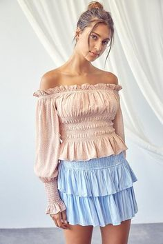 Off The Shoulder Peplum Top Self 100% Polyester Lining 100% Rayon Ruffle Trimmed Smocked Wrist Smocked Waist Sheer Puffy Sleeve Fully Lined In Stock Off Shoulder Blouse, Off The Shoulder, Ruffle Trim, Smocking, Taupe, Peplum, Sleeves, Dresses, Women