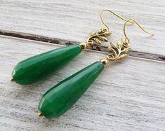 aac310fadedf Green jade earrings, leaf earrings, rustic earrings, drop earrings, dangle  earrings, italian jewelry, gemstone jewelry, gift