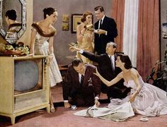 "hotpoint tv 1956 - A TV viewing party! ""Let's dress up, point at each other, and…"
