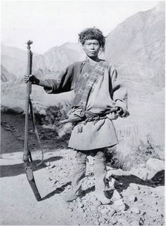 Tibetian hunter with matchlock, 1929