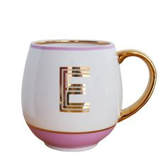 Beautiful three stripe letter library mugs are the perfect personalised pressie. There are 4 colours alternating between letters including blush, Alphabet Mugs, Mug Printing, Letter J, Gold Letters, Personalized Mugs, Aqua, Monogram, Metallic Gold, Gifts