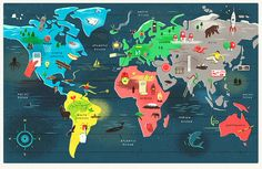 Children's pull-out poster for The Times, showing different inventions from around the world. Illustration by Owen Gatley #map