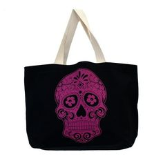 Large Sturdy Black Canvas Tote with Pink Day of the Dead Skull