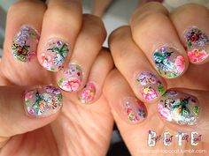 Flowers, Hummingbirds, and Butterflies Nails