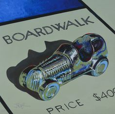 www.codagallery.com | Boardwalk Race Car by Kathleen Keifer | Acrylic on Canvas #monopoly #boardgames #fineart