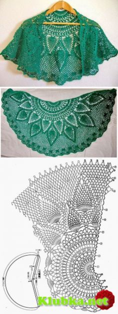 "Emerald shawl cape pineapple"" Клубка.Нет - In total about knitting by a hook"