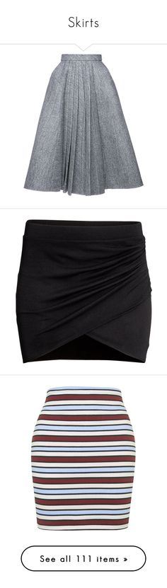 """""""Skirts"""" by aylin-schroeder on Polyvore featuring skirts, bottoms, high-waisted skirts, a-line skirts, pleated mini skirt, green mini skirt, black and white skirt, black, h&m skirts und short wrap skirt"""