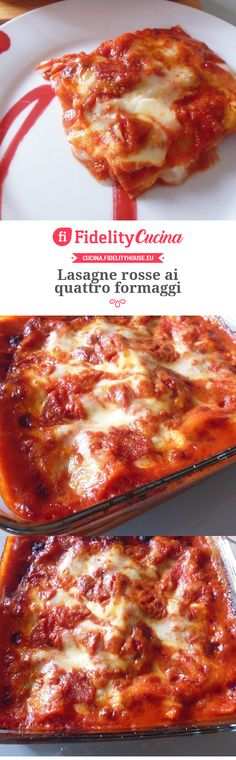 Lasagne rosse ai quattro formaggi French Toast, Food And Drink, Tasty, Cheese, Cooking, Breakfast, Ethnic Recipes, Kitchen, Terra