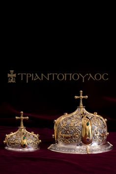 Ornate silver chalice set with the covers. Gold decorated K24 with semiprecious stones.  #byzantine #handmade #church #religion #chaliceset #orthodox #silver Byzantine Art, Religion, Stones, Silver, Gold, Handmade, Jewelry, Decor, Rocks