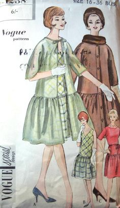Vintage 1950s Vogue Drop Waist Dress Coat Sewing Pattern B 36