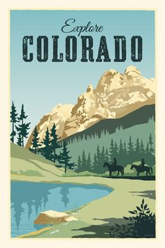 Vintage Travel Explorez Colorado affiche de voyage de Style Vintage - Rugged Colorado scenic landscape with mountains, water and horse back riding. Beautiful blues and greens. Ready to frame. Le Colorado, Colorado Springs, Photo Vintage, Style Vintage, National Park Posters, Illustration, Vintage Travel Posters, Beach Trip, Travel Usa