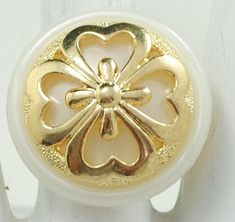 Lucky Statement Ring/Four Leaf Clover/Gold/White Pearl/St Patrick's  Day Jewelry/Gift For Her/Adjustable/Under 12 USD