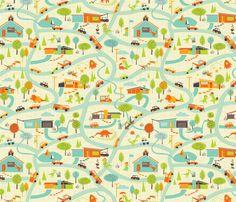 Hero-saurus Town fabric by jennartdesigns on Spoonflower - custom fabric