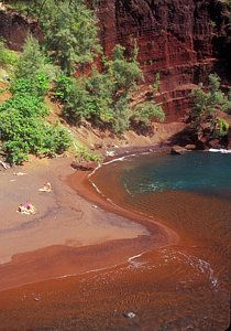 Red Sand Beach Hana Print by John Burk