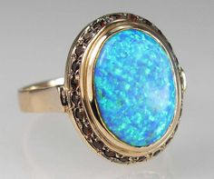 Victorian Estate 14k Rose Gold Australian Black Opal Garnet Ring.