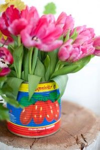 old tins make the perfect vases