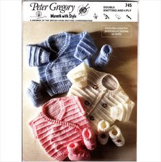 745 Peter Gregory Knitting Pattern Baby Cardigans