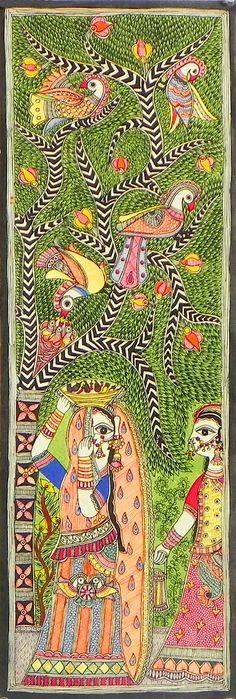 Two Rajasthani Ladies Standing Under Tree Full of Colorful Birds (Madhubani Folk Art on Paper - Unframed)