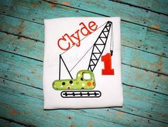 Personalized Birthday Crane Construction Applique Monogrammed Shirt